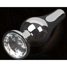 Серая анальная пробка с прозрачным кристаллом - 8,5 см. (цвет -прозрачный) (100121)