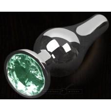 Серая анальная пробка с зеленым кристаллом - 8,5 см. (цвет -зеленый) (100123)