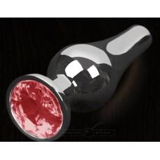 Серая анальная пробка с малиновым кристаллом - 8,5 см. (цвет -малиновый) (100127)