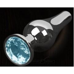 Серая анальная пробка с голубым кристаллом - 8,5 см. (цвет -голубой) (100128)