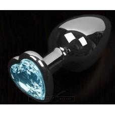 Графитовая анальная пробка с голубым кристаллом в виде сердечка - 8,5 см. (цвет -голубой) (100132)