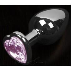 Графитовая анальная пробка с розовым кристаллом в виде сердечка - 8,5 см. (цвет -розовый) (100134)