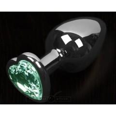 Графитовая анальная пробка с зеленым кристаллом в виде сердечка - 8,5 см. (цвет -зеленый) (100136)