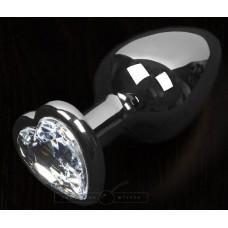 Графитовая анальная пробка с прозрачным кристаллом в виде сердечка - 6 см. (цвет -прозрачный) (100138)