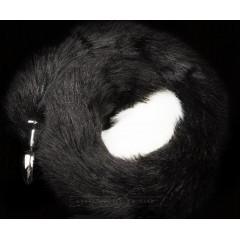 Серебристая анальная пробка с длинным черным хвостиком (цвет -черный) (100154)