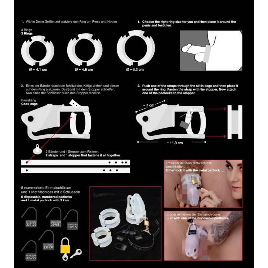 Набор для мужского пояса верности Cock Cage Set (цвет -белый) (100213) фото 3