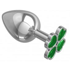 Серебристая анальная пробка-клевер с зеленым кристаллом - 9,5 см. (цвет -зеленый) (100932)