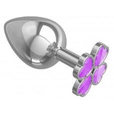 Серебристая анальная пробка-клевер с сиреневым кристаллом - 9,5 см. (цвет -сиреневый) (101454)
