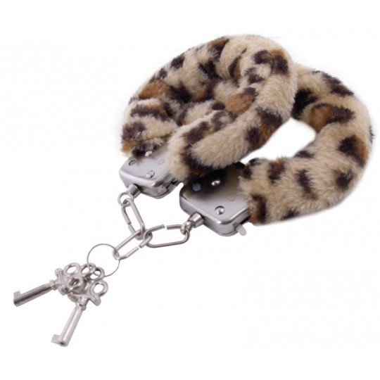 Наручники с леопардовым принтом на опушке (цвет -леопард) (10159) фото 2