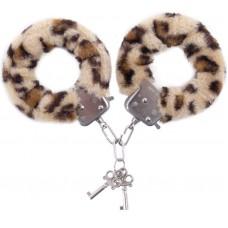 Наручники с леопардовым принтом на опушке (цвет -леопард) (10159)