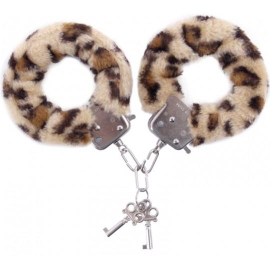 Наручники с леопардовым принтом на опушке (цвет -леопард) (10159) фото 1