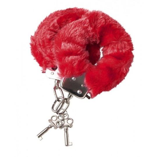 Наручники с красной меховой опушкой (цвет -красный) (10160) фото 1