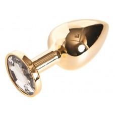 Золотистая маленькая анальная втулка с прозрачным кристаллом - 6 см. (цвет -прозрачный) (10198)