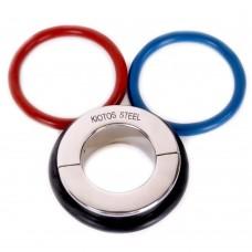 Серебристая утяжка на мошонку с 3 кольцами в комплекте Ball Stretcher (цвет -серебристый) (103002)