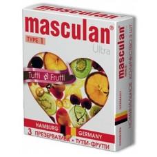 Жёлтые презервативы Masculan Ultra Tutti-Frutti с фруктовым ароматом - 3 шт. (цвет -желтый) (10402)