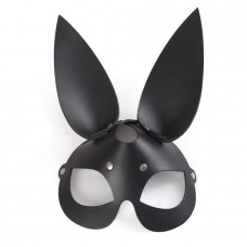 Чёрная кожаная маска с длинными ушками (цвет -черный) (104621)