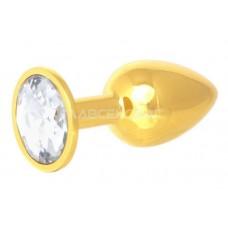 Золотистая анальная пробка с прозрачным кристаллом - 7 см. (цвет -прозрачный) (104675)