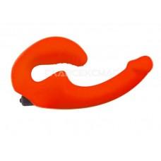 Оранжевый анатомический страпон с вибрацией (цвет -оранжевый) (104862)