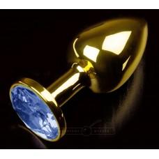 Золотистая анальная втулка с синим стразом - 7 см. (цвет -синий) (104927)