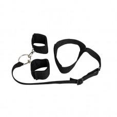 Черный ошейник с длинной лентой и отстегивающимися наручниками (цвет -черный) (104974)