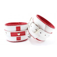 Бело-красные кожаные наручники для медсестры (цвет -белый с красным) (105379)