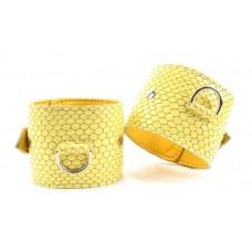 Кожаные наручники  Желтый питон  (цвет -желтый) (105382)