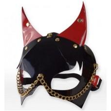 Черно-красная маска с рожками (цвет -черный с красным) (106628)