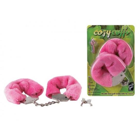Розовые меховые наручники на сцепке с ключами (цвет -розовый) (10746) фото 2