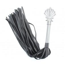 Черная плеть из кожи Gray с серебристой ручкой - 64 см. (цвет -черный с серебристым) (107508)