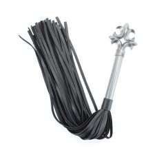 Черная плеть из натуральной кожи Gray в готическом стиле - 63 см. (цвет -черный с серебристым) (107509)