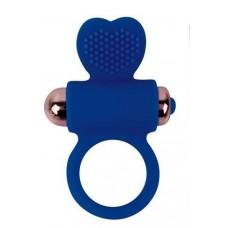 Синее эрекционное виброкольцо с сердечком (цвет -синий) (107985)