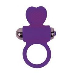 Фиолетовое эрекционное виброкольцо с сердечком (цвет -фиолетовый) (107986)