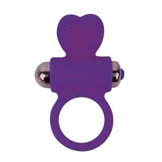 Фиолетовое эрекционное виброкольцо с сердечком (цвет -фиолетовый) (107986) фото 1