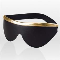Черная кожаная маска на резинке с золотистой полосой (цвет -черный с золотистым) (108101)