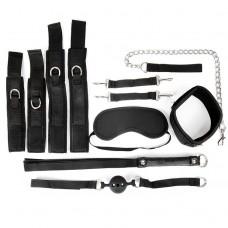 Черный текстильный набор БДСМ: наручники, оковы, ошейник с поводком, кляп, маска, плеть (цвет -черный) (108427)
