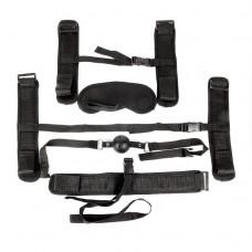 Пикантный черный текстильный набор БДСМ: наручники, оковы, ошейник с поводком, кляп, маска (цвет -черный) (108428)