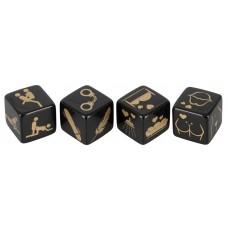 Набор кубиков для секс-игр (цвет -черный с золотистым) (113237)