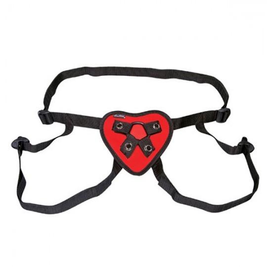 Трусики с красным сердечком для страпона (цвет -красный с черным) (11381) фото 1