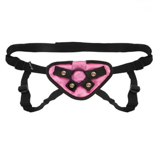 Черно-розовые плюшевые трусики для страпона (цвет -розовый с черным) (11385) фото 1