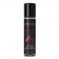 Лубрикант с ароматом сладкой вишни WICKED AQUA Cherry - 30 мл.(116539)
