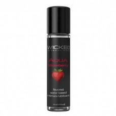 Лубрикант с ароматом клубники  WICKED AQUA Strawberry - 30 мл.(117495)