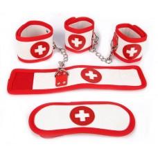 Оригинальный игровой набор БДСМ в медицинском стиле (цвет -красный с белым) (119034)