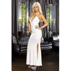 Белое вечернее платье в пол с нарядным декольте (цвет -белый)  (размер -M-L) (12015)
