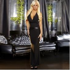 Черное вечернее платье в пол с открытой спиной (цвет -черный)  (размер -M-L) (12017)