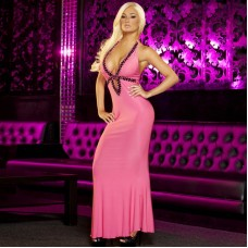 Вечернее розовое платье в пол от Hustler (цвет -розовый)  (размер -S-M) (12018)