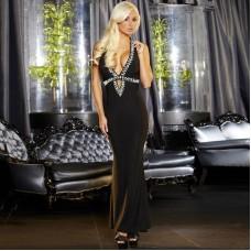 Вечернее черное платье в пол от Hustler (цвет -черный)  (размер -S-M) (12019)
