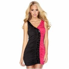 Двухцветное присборенное платье (цвет -черный с розовым)  (размер -S) (12038)