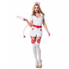 Костюм похотливой медсестры (цвет -белый с красным)  (размер -S-M) (12693)