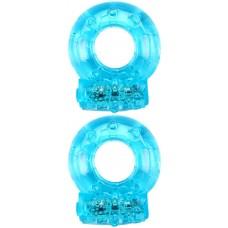 Набор из 2 голубых эрекционных виброколец (цвет -голубой) (137434)