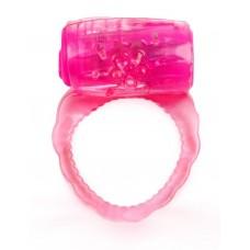 Розовое эрекционное кольцо с вибропулей (цвет -розовый) (154016)